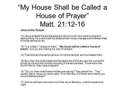 Matthew 26 house of prayer