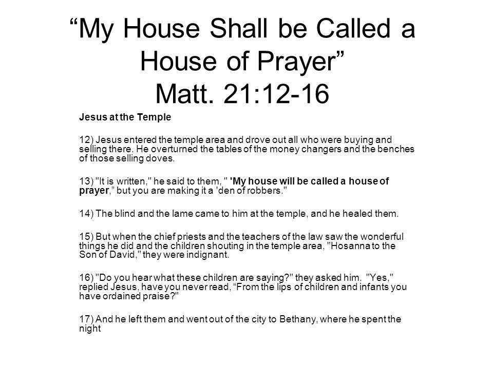 Matthew 26 house of prayer